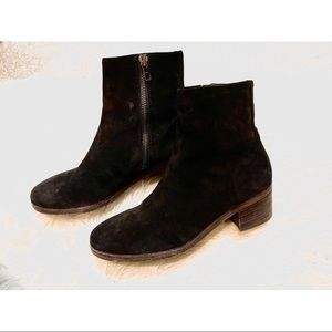 Vince zipper black suede boots